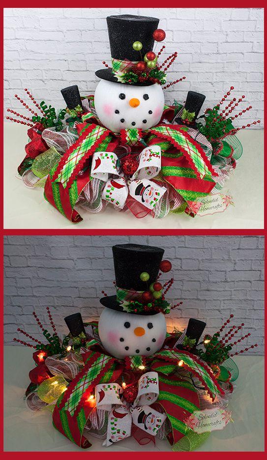 XL Light up Snowman Centerpiece, Christmas Centerpiece, Top Hat Snowman Centerpiece, Raz Christmas Centerpiece, Snowman Table Decor by Splendid Homecrafts on Etsy #centerpiece #snowman
