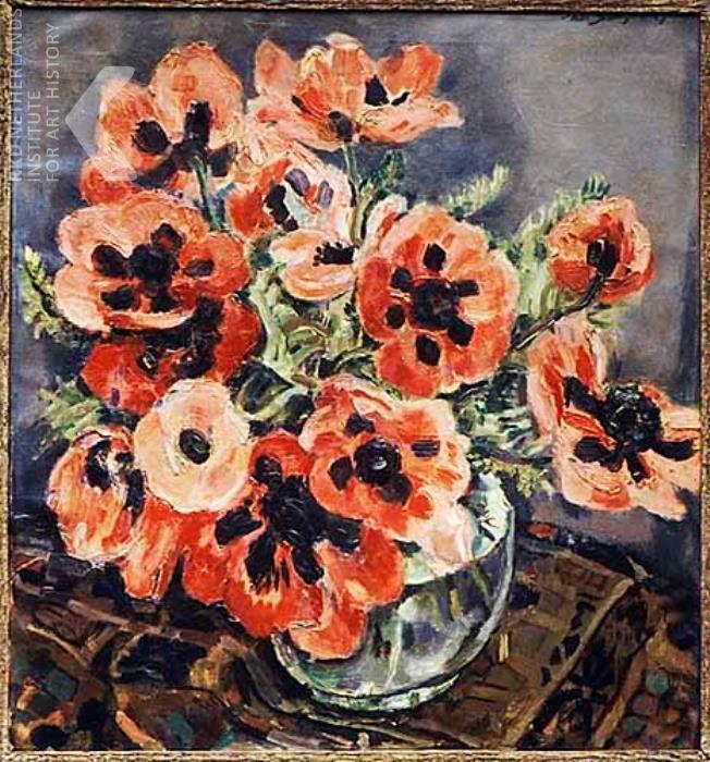 Jan Sluijters (Dutch, 1881-1957) - Still life with anemones in glass vase