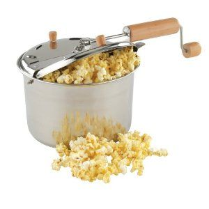 Coconut Oil Popcorn.  My mom made eggs and popcorn EVERY Sunday night.  I hate eggs, so we just have the popcorn tradition.  I just use my stainless steel stock pot, coconut oil, popcorn and Himalayan sea salt.  YUM!