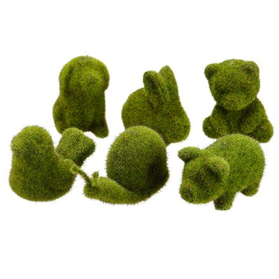 "Topiary animals from Edward Scissor hands - 2.5""-4"" Set Of Artificial Moss Covered Animals -Green (pack of 2)"