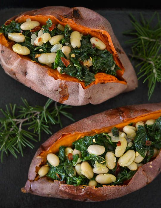 Sweet potatoes stuffed with white beans and kale