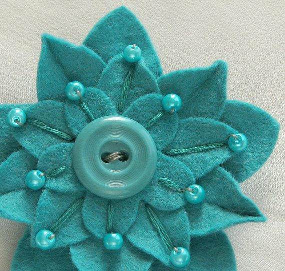 Turquoise on Turquoise Felt Flower Pin with Vintage Button, Hand embroidery and Matching Pearl Beads dorothydesigns