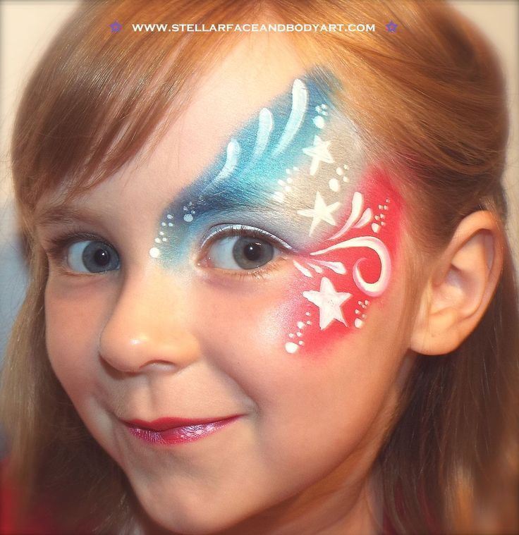 Blue White Red Face Paint