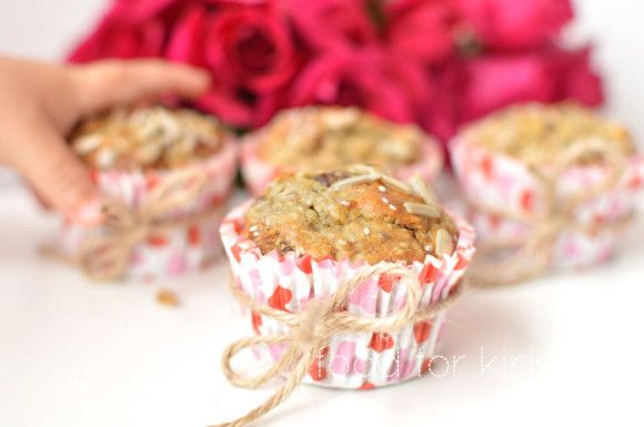 Banana Muffins - sweetened only by fruit! These are really fun to make with kids as lots for them to get involved with and take responsibility for. Packed with fruit, nuts and seeds - take a look if you want to see more. Happy baking x