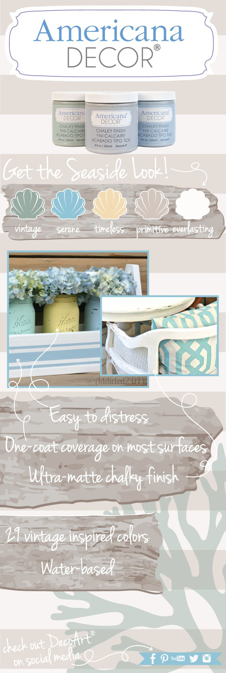 Use Americana Decor Chalky Finish to achieve a seaside look to bring the magic of your beach vacation into your home.