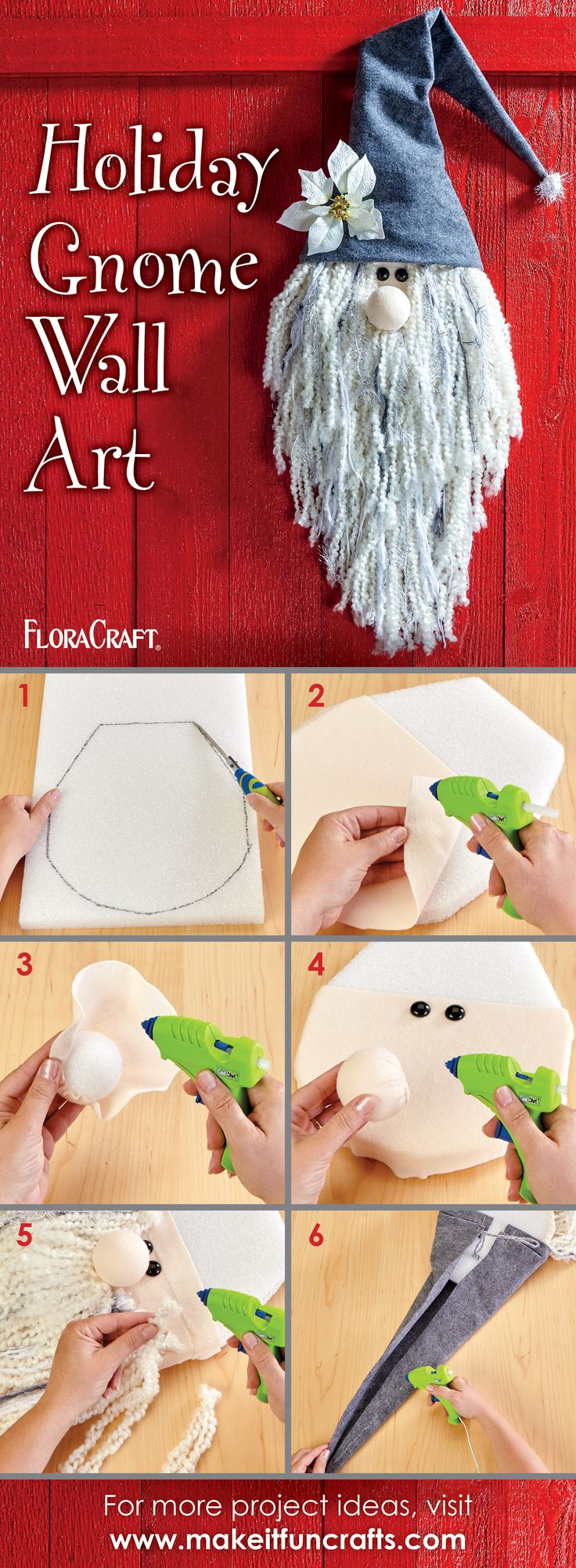 Call him a holiday gnome, Old Man Winter, or Gandolf! Whatever you call him, this easy-to-create Styrofoam-based piece of winter décor will happily greet all of your holiday guests.  Create your own and share using #ACMooreInspired.