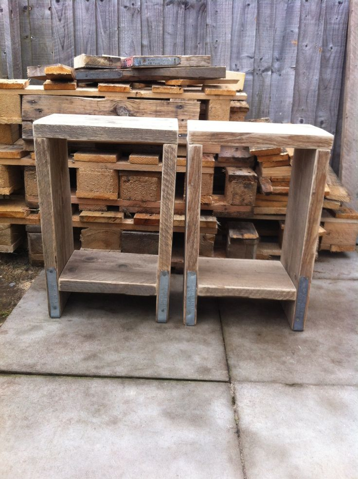 Pair of side tables. Made from scaffold planks. Unfinished, just sanded.