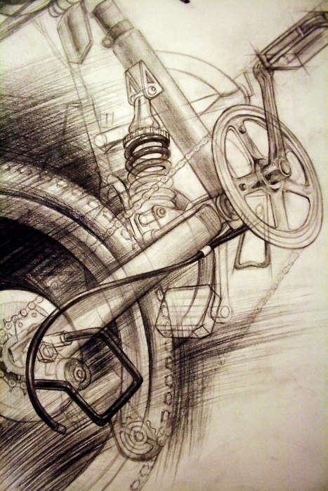 This drawing uses various lines and cross-hatching strokes to create the illusion of motion, especially for the wheel in the foreground. It's interesting to see how the artist chose to portray textures of certain parts of the bicycle only, like the shiny, black wires and springs. This is further emphasized by the light and dark contrast between the front wheel and crosshatching. By emphasizing these parts, the rest of the bicycle seems to be blurred in motion.