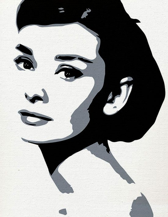 Considered by Vanity Fair The Best-Dressed Women of All Time. Audrey Hepburn Painting. Acrylics on cotton canvas in her favorite Black & White.