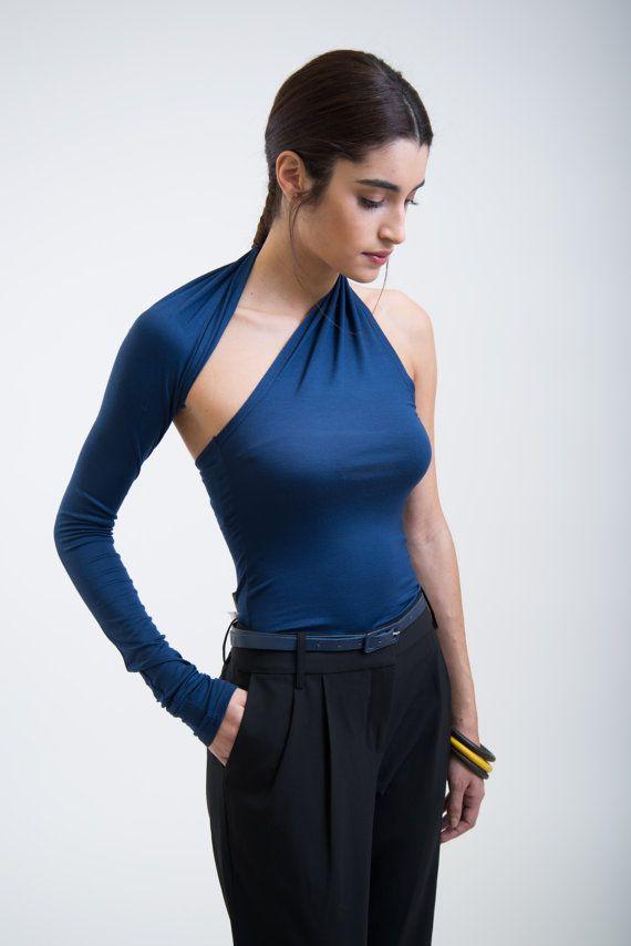 One Shoulder Dark Blue Shirt / Party Top / Black by marcellamoda