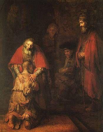 탕자의 귀향, 렘브란트,(1606-1669)   캔버스에 유채, 262 x 206 cm, 1662  덴 하그 마우리츠하이즈 미술관 소장    렘브란트의 가장대표적인 작품이다.  가장 에너지가 넘쳤을 때가 아니라 기력이 쇠약해지고 있을 때 이런 걸작을 그릴 수 있는 열정이 놀랍다.  빛을 능숙하게 회화에 적용하는 모습과 신부의 손을 통해 작가의 의도를 효과적으로 전달하고 있는 능숙함을 보여주고 있다.