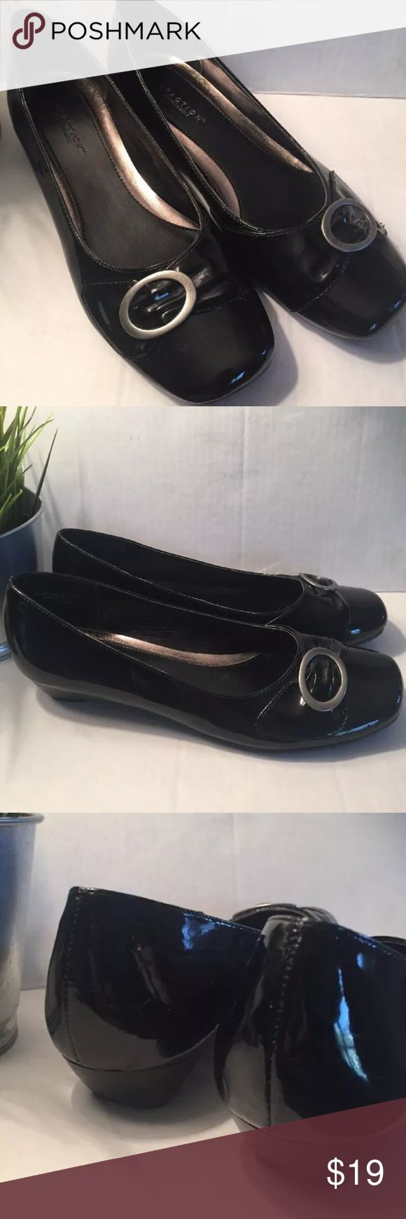 Kenneth Cole  Reaction Ballet Flats Kenneth Cole Reaction  Shiny, patent leather flats w/buckle at toe. Rounded,Square Toe Size 7.5M  Pretty good condition, gentle to moderate signs of wear on soles.   Thank you for your interest! Kenneth Cole Reaction Shoes Flats & Loafers