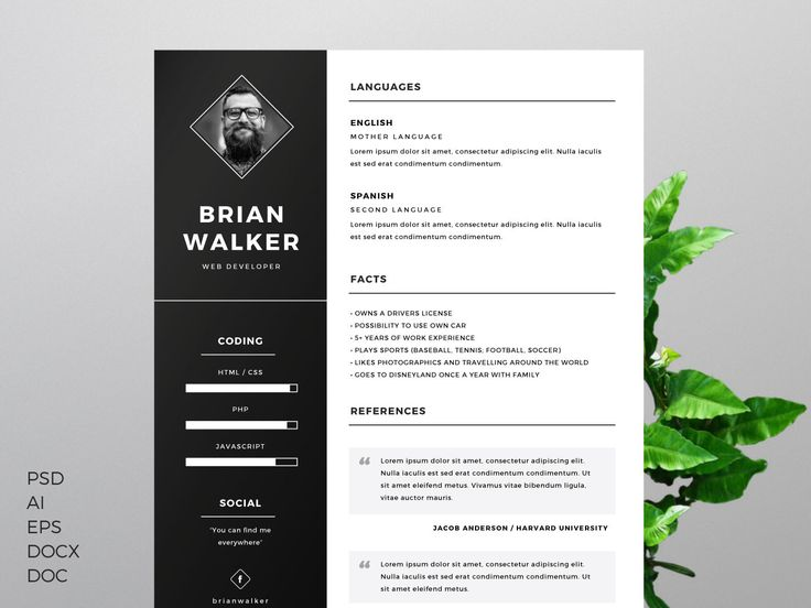 Free Resume Template for Word, Photoshop & Illustrator on Behance