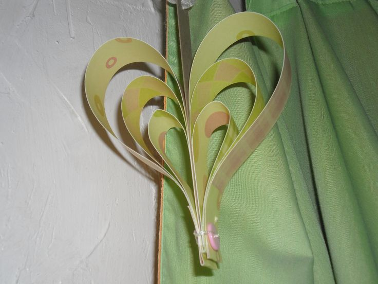 hanging heart made from baby print paper stock