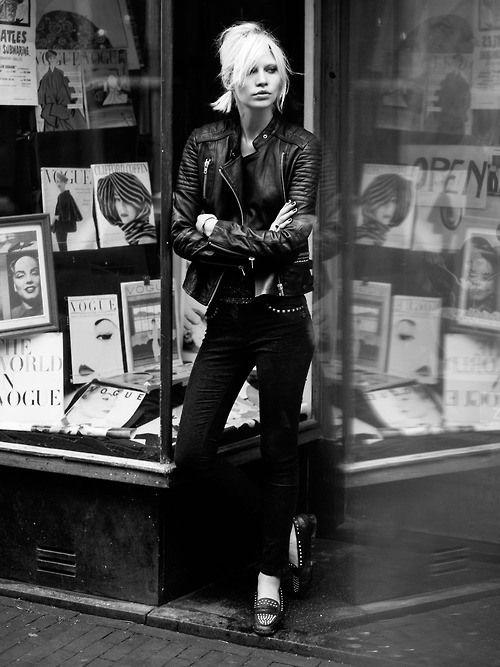hanging out | corner store | leather | biker jacket | hot | rad | rock n roll | black & white | fashion editorial