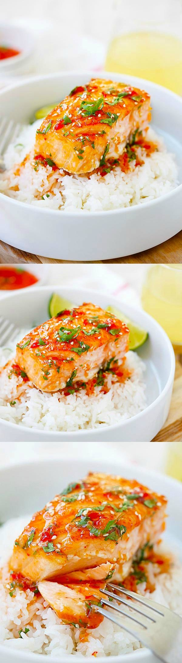 Sweet Chili Salmon – quick and easy salmon with Thai sweet chili sauce. The recipe takes only 15 mins on skillet or you can bake it.