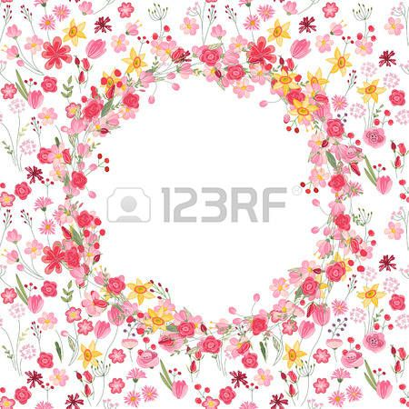 Round summer wreath with roses and different flowers For season design announcements postcards poste Stock Vector