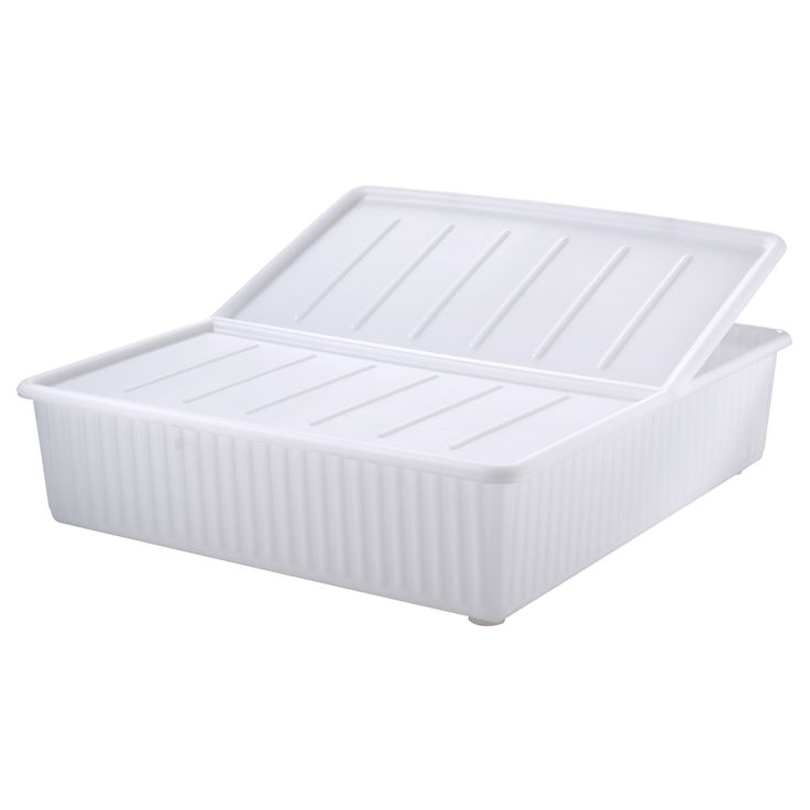 DILLING Bed storage box - IKEA - fits perfectly under the bed as 20cm high and only 8 quid.