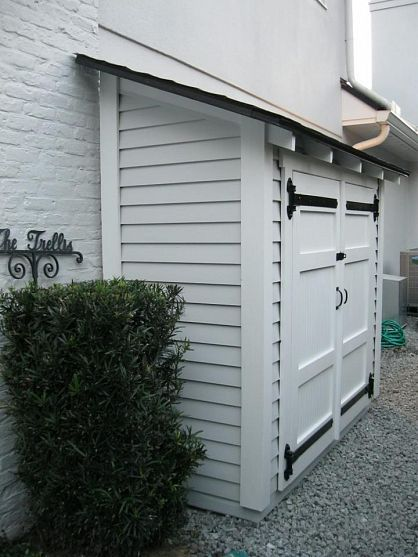 Make use of small outside areas for storage - love this, build out the back of the garage for kids outdoor stuff and chair cushions