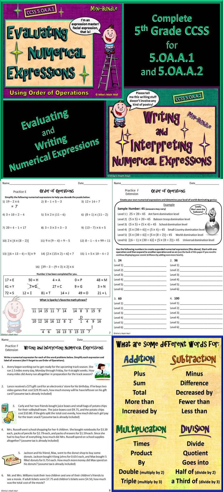 This is an awesome bundled unit that completely covers writing and interpreting numerical expressions, including order of operations (CCSS 5.OA.A.1 and 5.OA.A.2). This mega bundle includes two entertaining and very interactive PowerPoints, 12 differentiated practice pages, 2 comprehensive assessments, posters, notes, anchor charts, etc. Your students will love it! Mike's Math Mall - $