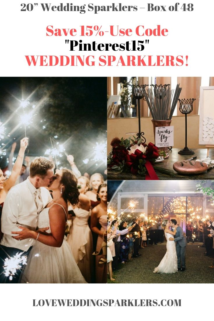 26 99 20 Wedding Sparklers Box Of 48 Wedding Sparklers Save 15 When You Use Coupon Code Pinterest15 During Your Wedding Sparklers Sparklers Wedding