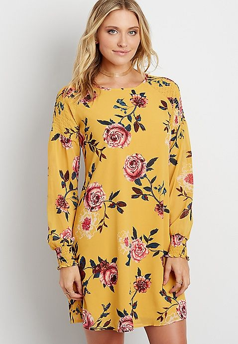 floral print chiffon shift dress with smocking | maurices