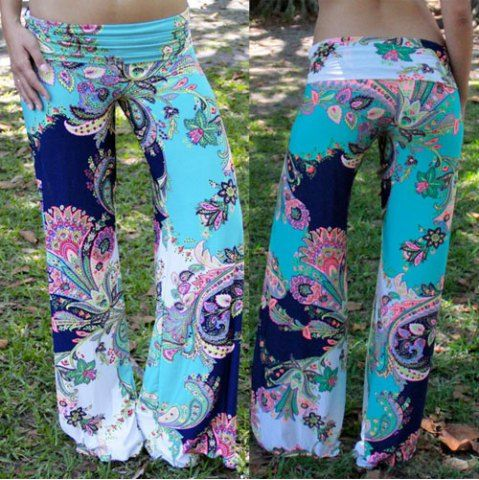 Fashionable Mid-Waisted Floral Print Loose-Fitting Women's Pants