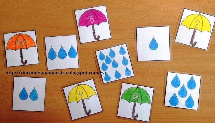 Un material que usé el curso pasado con un alumno a comienzos de curso son estas tarjetas que nos ayudan a asociar el número con su cantidad...