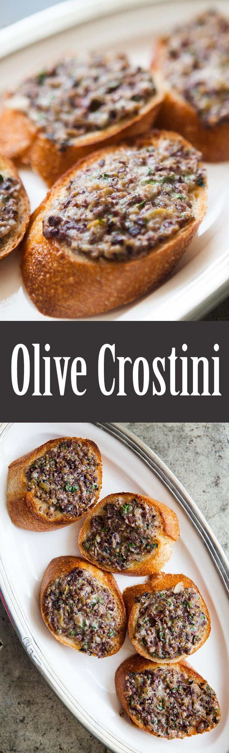 Olive Crostini ~ Olive crostinis, sliced baguette, spread with an olive, garlic, cheese tapenade, and toasted in the oven. Delicious appetizer. ~ SimplyRecipes.com