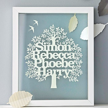 Personalised Family Tree Papercut by Kyleigh's Papercuts--I've always liked paper cuts!