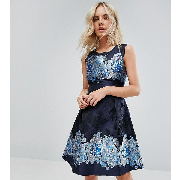 Yumi Petite Mix Print Skater Dress ($43) ❤ liked on Polyvore featuring dresses, navy, petite, petite dresses, floral print dress, fit flare dress, fit and flare dress and navy blue dress