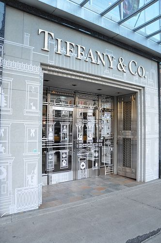 Calendered cut and weeded vinyl and printed adhesive vinyl produced, assembled and installed by Fastsigns Vancouver for Tiffany & Co - downtown Vancouver. www.fastsigns.com/653