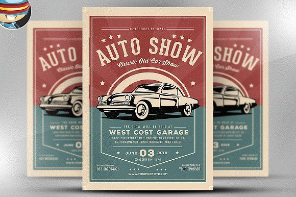 Old Classic Car Show Flyer Template by FlyerHeroes on @creativemarket