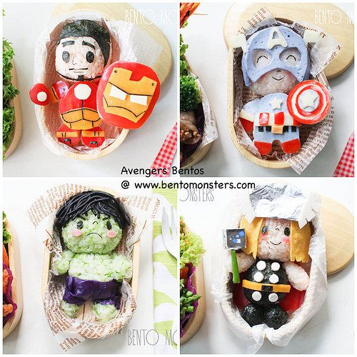 Avengers bentos by @bentomonsters. Super cool and creative