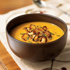 Carrot-Parsnip Soup with Parsnip Chips: Soups, Carrot Parsnip Soup, Food, Healthy, Parsnip Chips, Cooking Light, Carrots, Chips Recipe, Soup Recipes