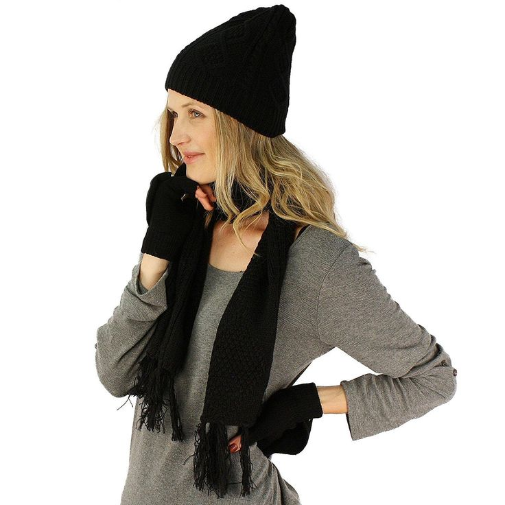 Ladies 3pc Winter Soft Knit Beanie Hat Long Scarf Flip Cover Gloves Set S/M * Want additional info? Click on the image. #niceshoes