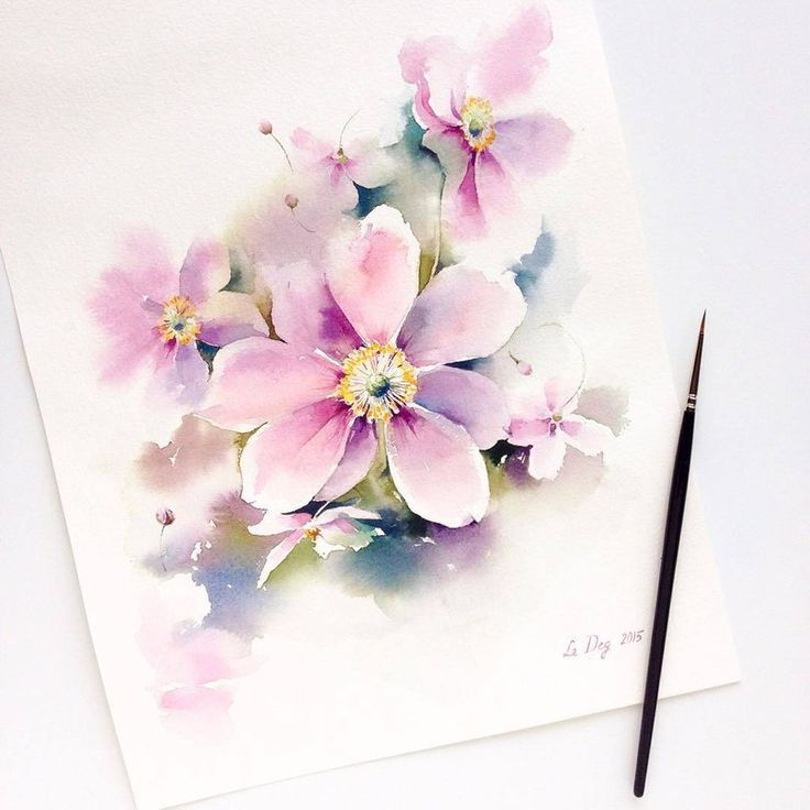 Днем, цветы открытки акварелью