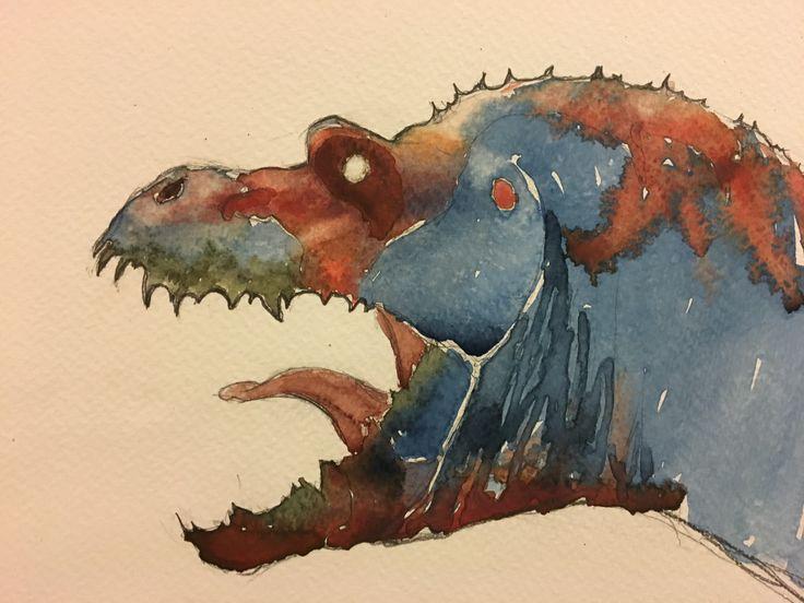Theropod. Watercolor