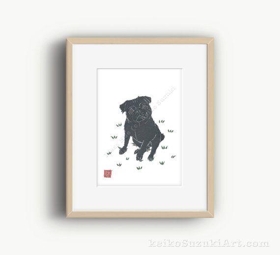 Black Pug Art Pug Dog Pug Print Pug Gift Pug Wall Art Pug