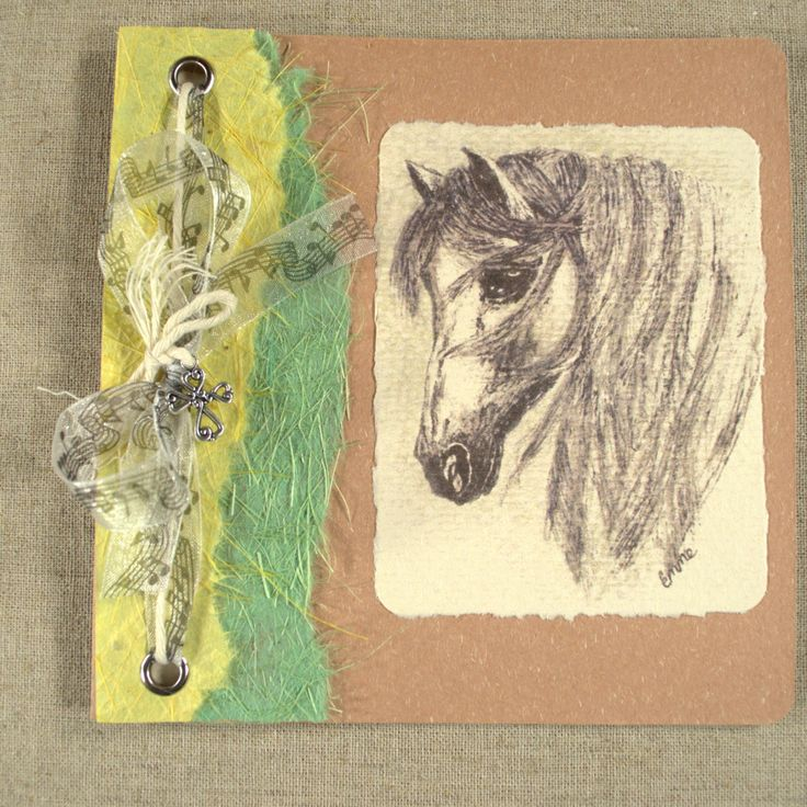 Christian Cross Get Well / Sympathy Card. Ink and wash horse drawing. Recycled card, handmade paper, music notes ribbon, silver cross. OOAK.