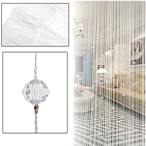 Imitazione di Perline di Cristallo Nappa Stringa Tenda Della Porta Finestra Home Decor Divisore 1 x 2M,White