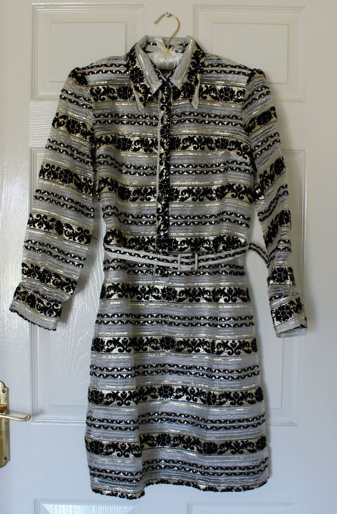 vintage women dress 60 s 7 s  style tunic sheer gold / silver dress size small 8
