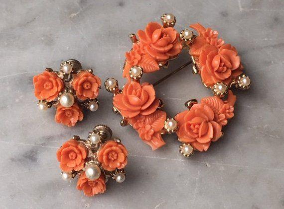 Beautiful Coral Pink Pearl Enamel High Fashion Designer Inspired Brooch