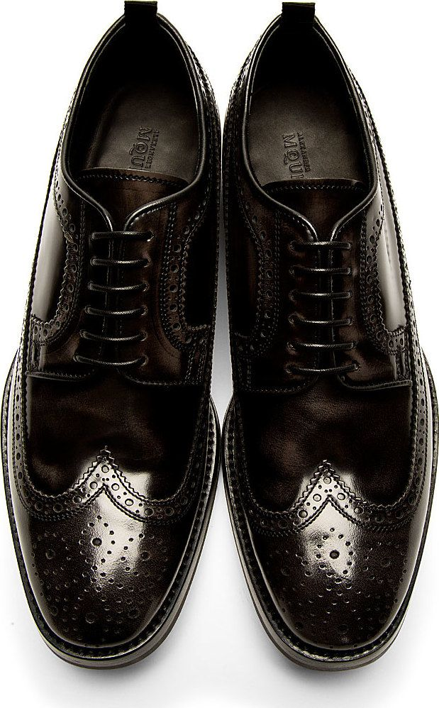 Alexander McQueen - Black Leather Longwing Brogues | SSENSE