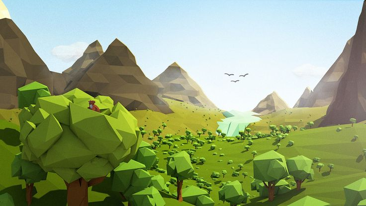 Low Poly Mountains and trees