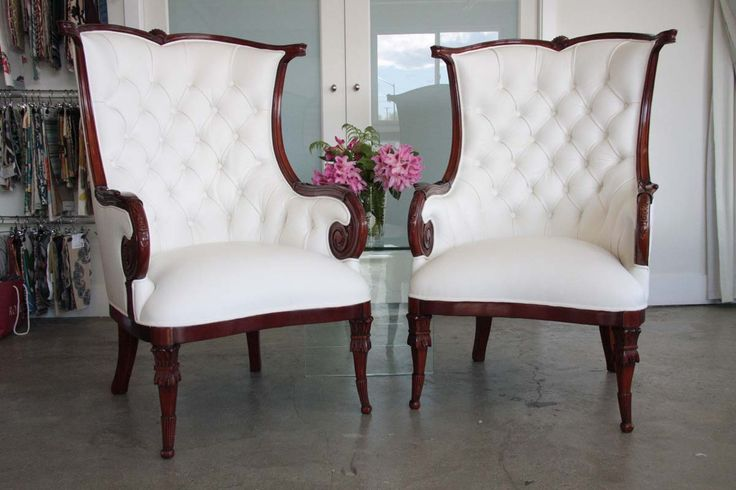 Stunning tufted wingback chairs, upholstery by Fabulous Furnishings!
