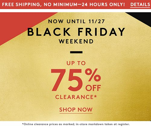Nordstrom Rack Black Friday Sale With Up To 75% OFF & FREE Shipping! Deals As Low As $1.58 - http://couponingforfreebies.com/nordstrom-rack-black-friday-sale/