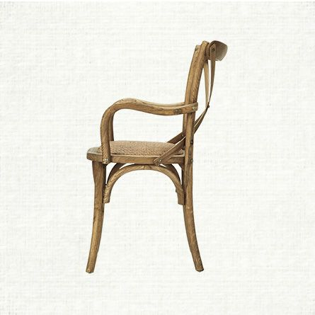 Kensington Dining Arm Chair In Barnwood Natural With Woven Seat