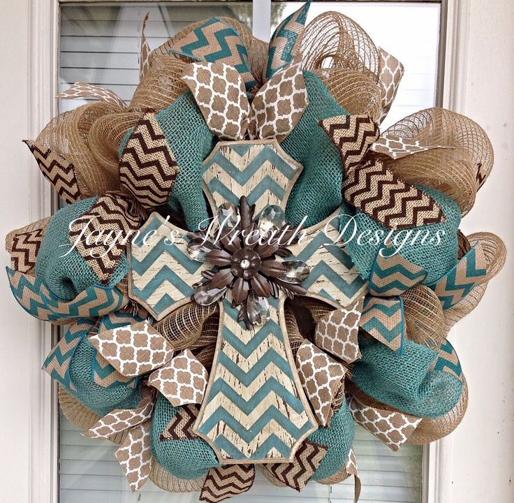 Custom Order Burlap Wreath with Cross with Chevron and Quatrefoil