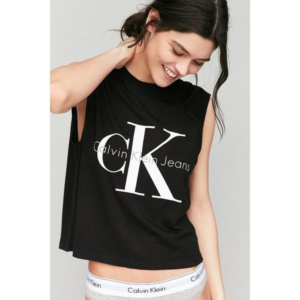 Calvin Klein For UO Muscle Tee (150 PLN) ❤ liked on Polyvore featuring tops, black, muscle t shirts, cut loose tops, muscle tshirt, calvin klein and sleeveless tank tops